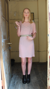 Georgie Dress in Salmon Colour Rooney Clothing