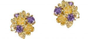 Rock Garden Flower Ball Earrings Gold Amethyst Karen Walker copy